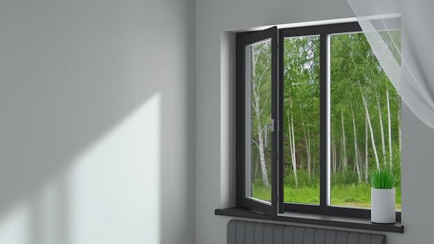 Czarne plastikowe okno w pokoju