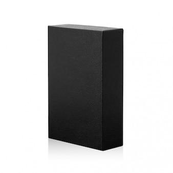 Czarne pudełko na białym tle. ciemny pakiet produktów do twojego projektu.