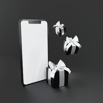 Czarne pudełko prezentowe ze smartfonami 3d