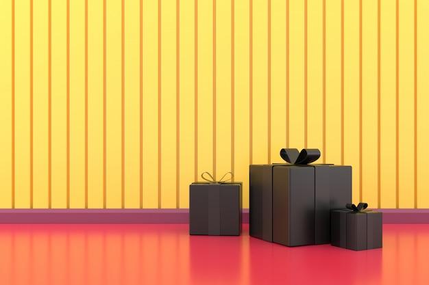Czarne pudełko upominkowe. renderowanie 3d.