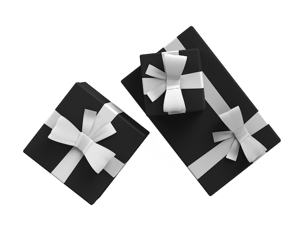 Czarne pudełko z białą wstążką zestaw trzech ilustracji opakowań do sprzedaży w czarny piątek