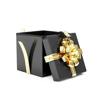 Czarne pudełko ze złotą wstążką i kokardką