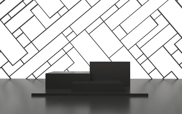 Czarne puste podium z geometrycznymi liniami