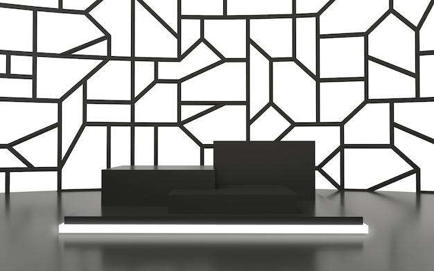 Czarne puste podium z parametrycznymi świecącymi białym tłem