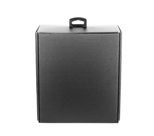 Czarne puste pudełko na białym tle