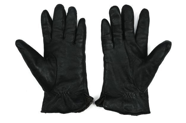 Czarne rękawiczki na białym tle. wysokiej jakości zdjęcie