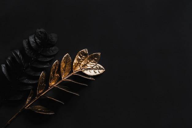 Czarne rośliny i złote rośliny. kwiatowa naturalna szeroka pozioma dekoracja z widokiem z góry i miejsca kopiowania.