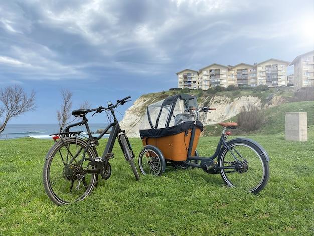Czarne rowery elektryczne zaparkowane w trawie przed morzem. zielona trawa i urwisko z domami z tyłu. trójkołowy do przewozu dzieci
