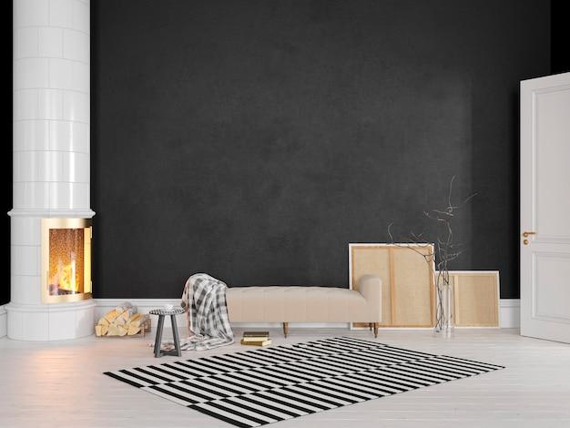 Czarne, skandynawskie, klasyczne wnętrze z kanapą, piecem, kominkiem, wykładziną. 3d render ilustracji makiety