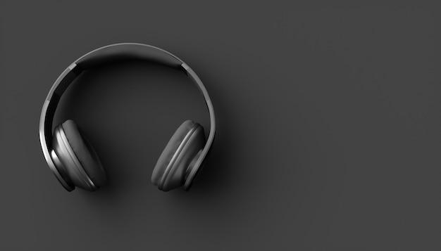 Czarne słuchawki na czarnym tle, ilustracja 3d