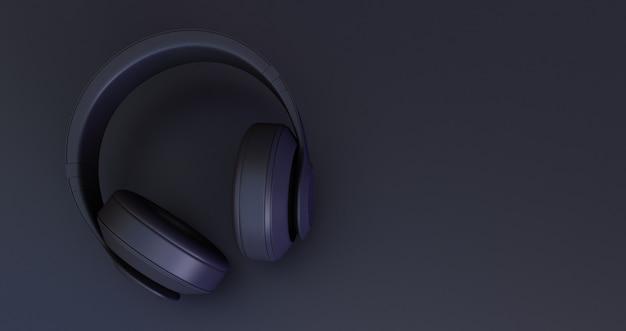 Czarne słuchawki na czarnym tle. renderowania 3d