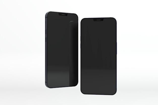 Czarne smartfony z białym tłem