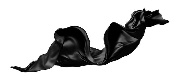 Czarne szmatki latające na wietrze na białym tle na białym tle renderowania 3d