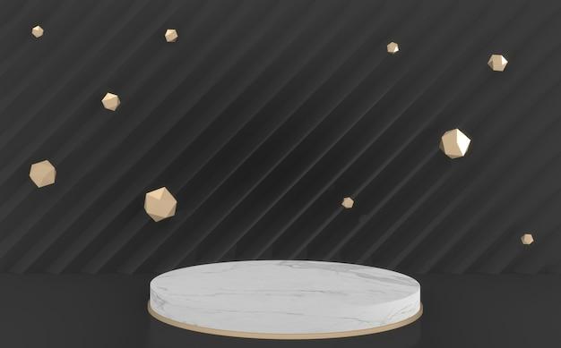 Czarne tło i podium pusty mini białe koło. renderowanie 3d