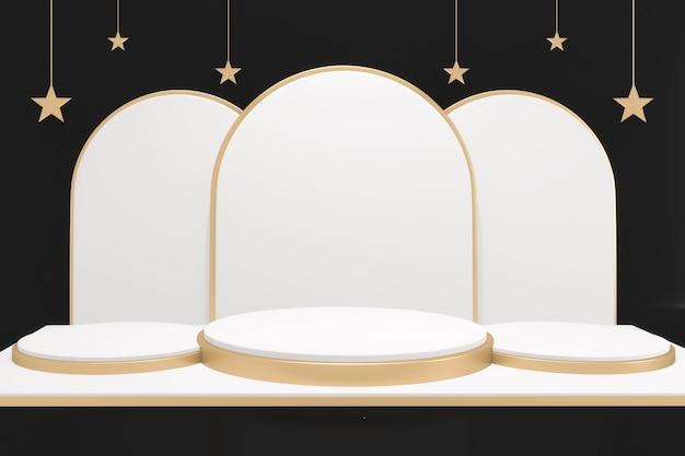 Czarne tło i pusty projekt białe i złote podium minimalna scena produktu. renderowanie 3d