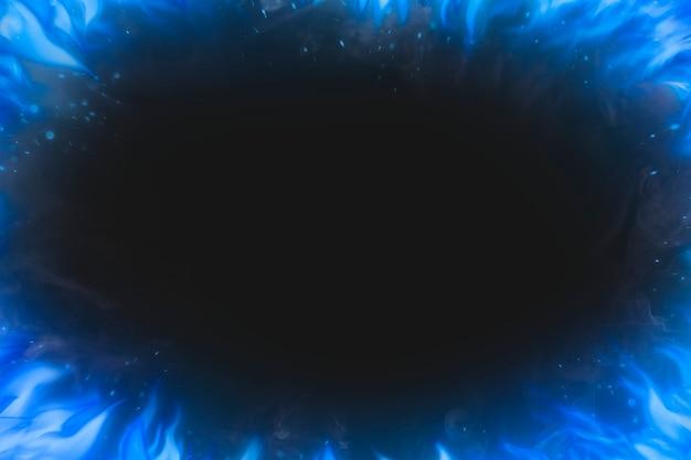 Czarne tło płomienia, niebieska ramka realistyczny obraz ognia