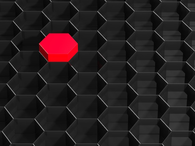 Czarne tło sześciokąt z czerwonym elementem. renderowanie 3d