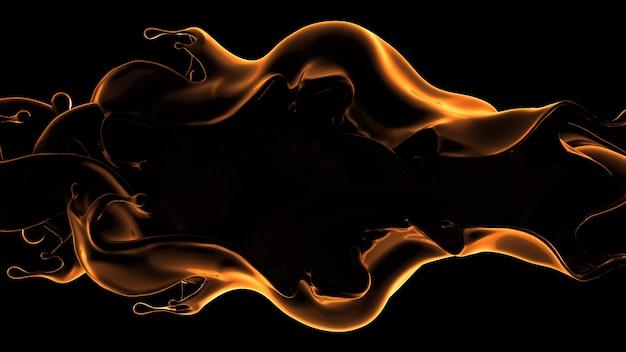 Czarne tło z odrobiną cieczy. 3d ilustracji