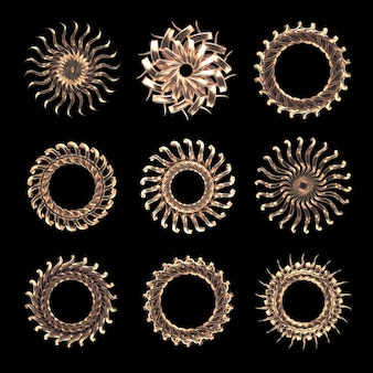 Czarne tło z renderowania 3d złota biżuteria na białym tle