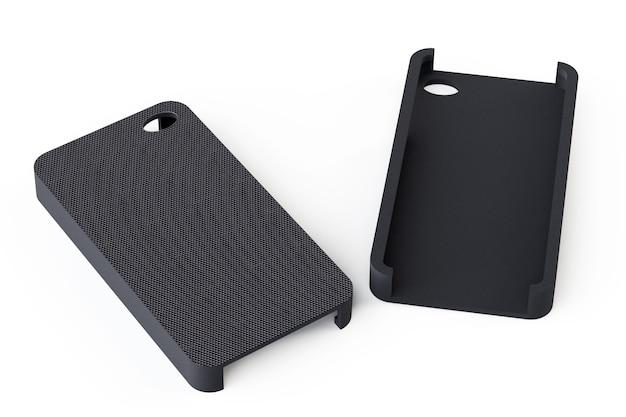 Czarne tylne okładki smartfona na białym tle