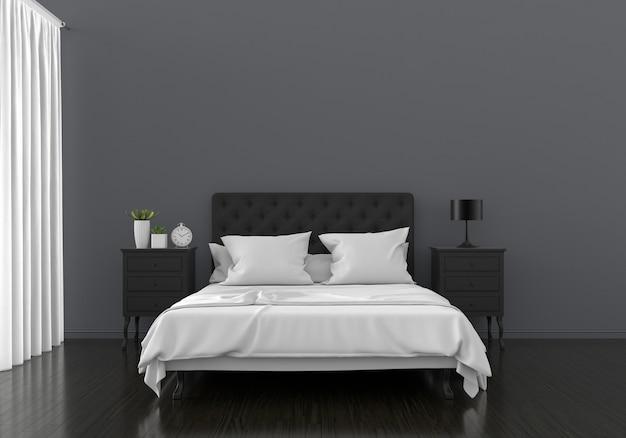 Czarne wnętrze sypialni