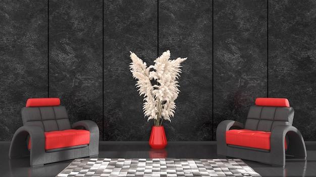 Czarne wnętrze z czarno-czerwonym fotelem do makiety, ilustracja 3d