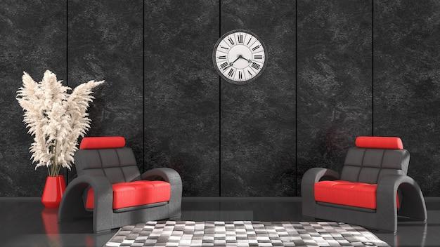 Czarne wnętrze z czarno-czerwonym fotelem i zegarem do makiety, ilustracja 3d