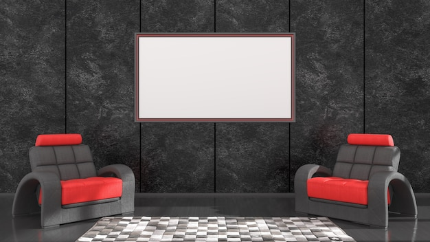 Czarne wnętrze z czarno-czerwonymi ramkami i fotelem do makiety, ilustracja 3d