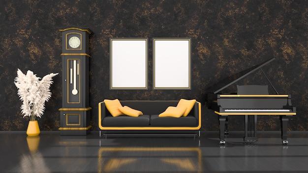 Czarne wnętrze z czarno-żółtym fortepianem, vintage zegar i ramka do makiety, ilustracja 3d