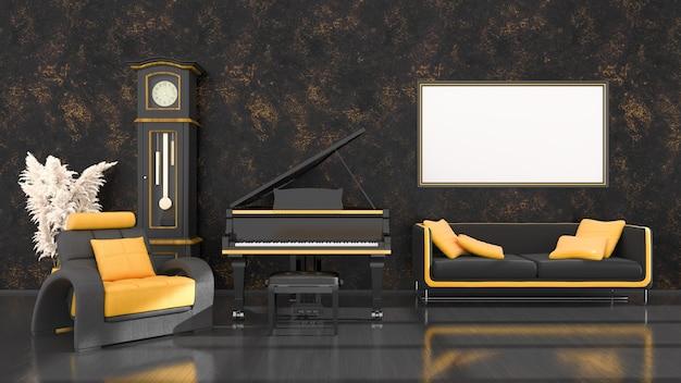 Czarne wnętrze z czarno-żółtym fortepianem, vintage zegar i ramki do makiety, ilustracja 3d