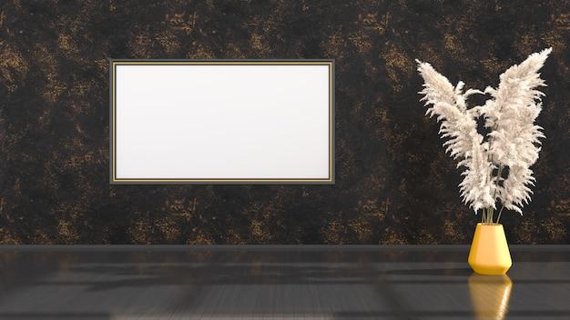Czarne wnętrze z czarno-żółtymi ramkami do makiety, ilustracja 3d