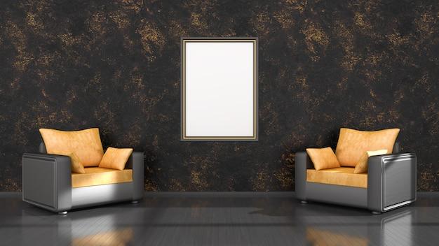 Czarne wnętrze z czarno-żółtymi ramkami i fotelem do makiety, ilustracja 3d