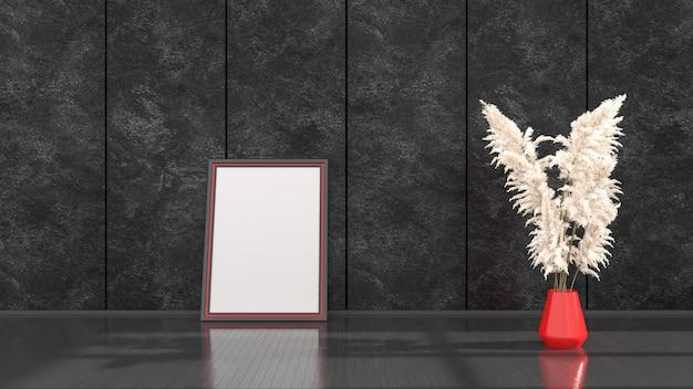 Czarne wnętrze z czarnymi i czerwonymi ramkami do makiety, ilustracja 3d