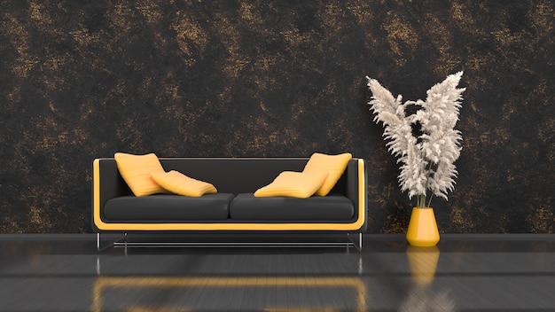 Czarne wnętrze z nowoczesną czarno-żółtą sofą, ilustracja 3d