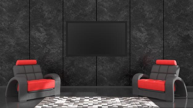 Czarne wnętrze z nowoczesnym designem czarno-czerwonym fotelem i telewizorem, ilustracja 3d