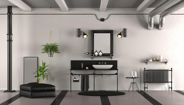 Czarno-biała łazienka vintage