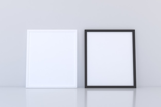 Czarno-biała makieta z dwiema ramkami na podłodze