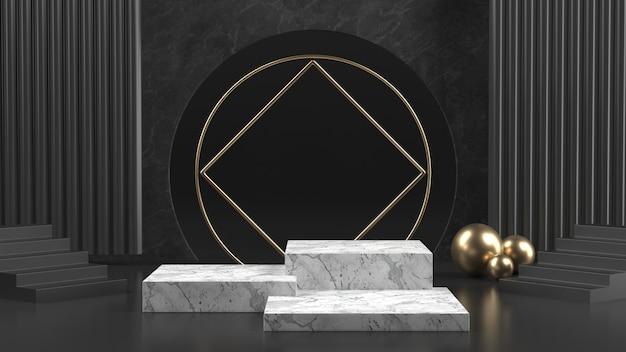 Czarno-biała marmurowa scena luksusowego podium na kosmetyk lub inny produkt.