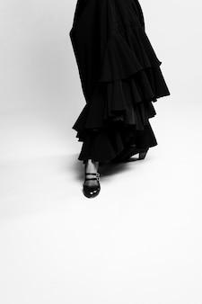 Czarno-białe poiting stóp flamenca