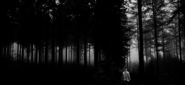 Czarno-białe zdjęcie osoby w lesie