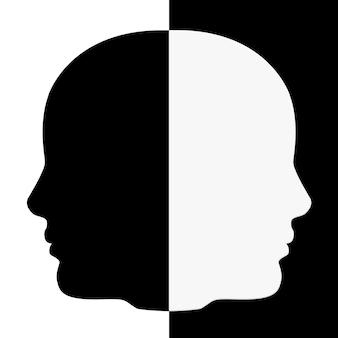 Czarno-biały kształt ludzkiej głowy ekstremalne zbliżenie. renderowanie 3d.