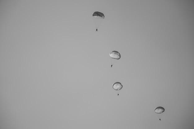 Czarno-biały obraz skoku spadochroniarza z białym spadochronem, wojskowy skoczek spadochronowy na niebie.