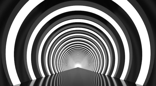 Czarno-biały okrągły tunel streszczenie tło podium.