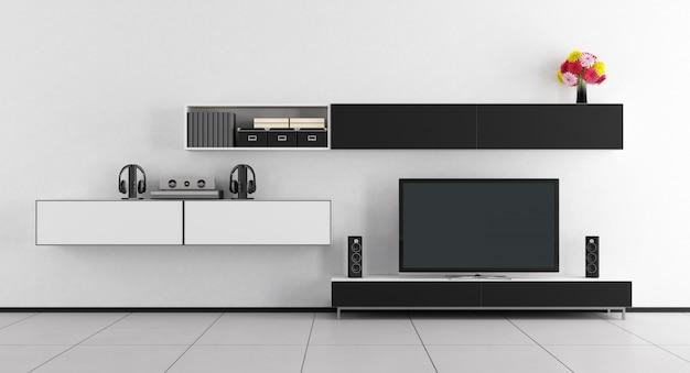 Czarno-biały pokój z telewizorem