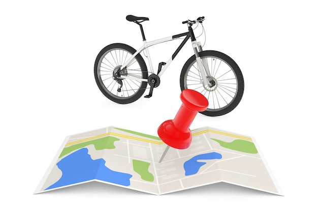 Czarno-biały rower górski w pobliżu złożonej abstrakcyjnej mapy nawigacyjnej z pinem na białym tle. renderowanie 3d