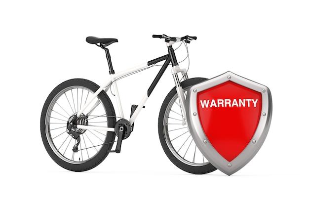Czarno-biały rower górski z czerwoną metalową osłoną gwarancyjną na białym tle. renderowanie 3d