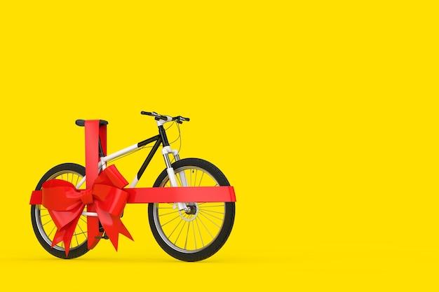 Czarno-biały rower górski z czerwoną wstążką jako prezent na żółtym tle. renderowanie 3d