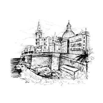 Czarno-biały szkic nasypu valletta, malta. wyściółka wykonana na zdjęciu