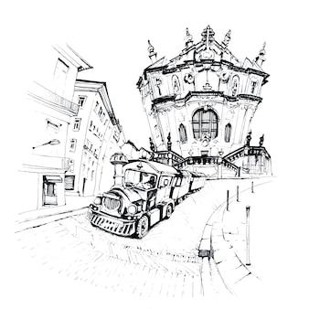 Czarno-biały szkic pociągu turystycznego w pobliżu kościoła clerigos, porto, portugalia