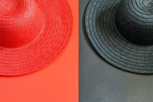 Czarno-czerwone damskie słomkowe kapelusze